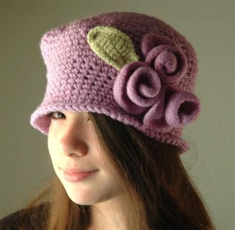 you have to see crochet hat with felt flower by teapartyhats