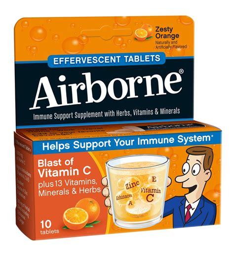 Vitamin Airborne airborne vitamin c 1000mg immune support supplement effervescent formula orange