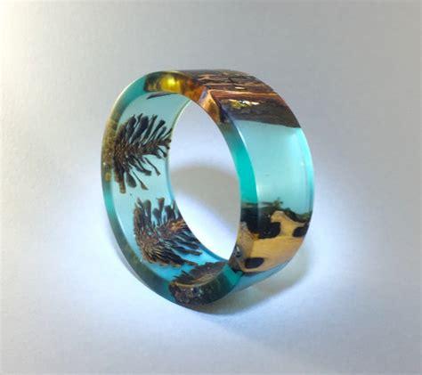 Pin Resin Mandiri 1 bracelet blue resin wood pine cones handmade jewelry