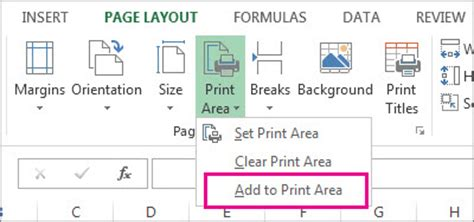 layout printable area set or clear a print area on a worksheet excel