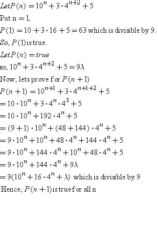 principle of mathematical induction divisibility by the principle of mathematical induction prove that 10n 3 4n meritnation