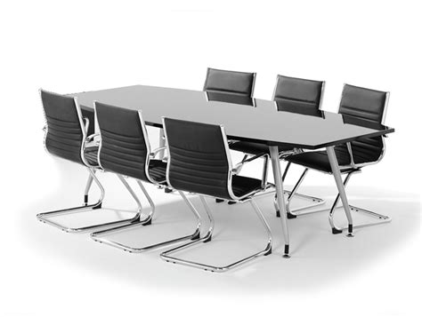 Black Boardroom Table High Gloss Boardroom Table And 6 Cantilever Chairs