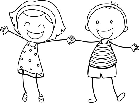 Basic Funny Boy Girl Coloring Sheet Printable Free Pages Picture Of Boy And Free