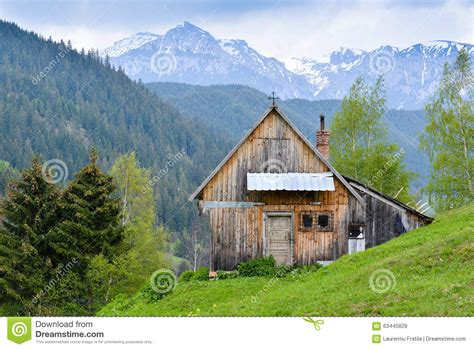 Blue Mountain Cottage by Mountain Cabin Stock Photo Image 63445829
