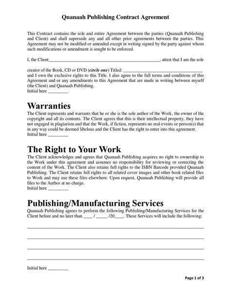 Quanaah Publishing Contract Agreement By Saladin Allah Issuu Publishing Contract Template