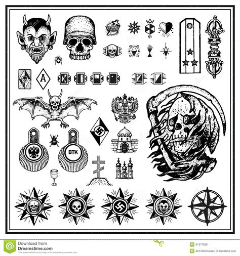 russian criminal finger tattoos stock vector