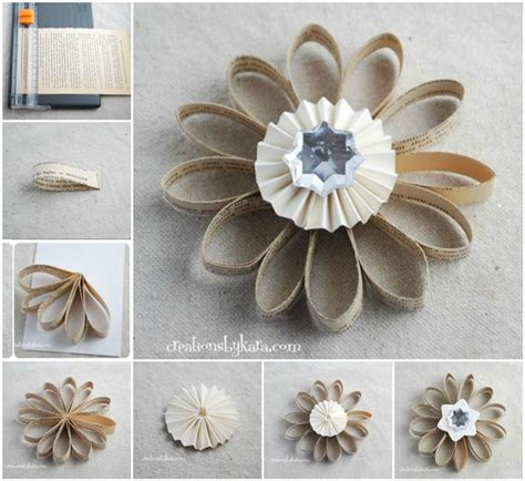paper flower ornament tutorial diy vintage dictionary flower ornaments beesdiy com