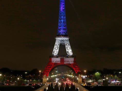 light up eiffel tower eiffel tower lit up blue white and red in honor of