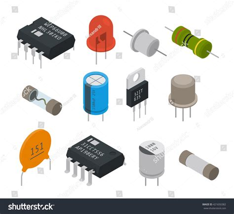 Create 3d Floor Plan electronic components icons isometric vector illustration