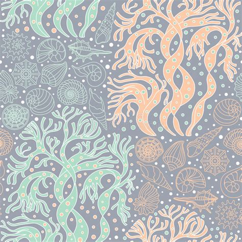textile pattern website seamless pattern with algae and seashells stock vector