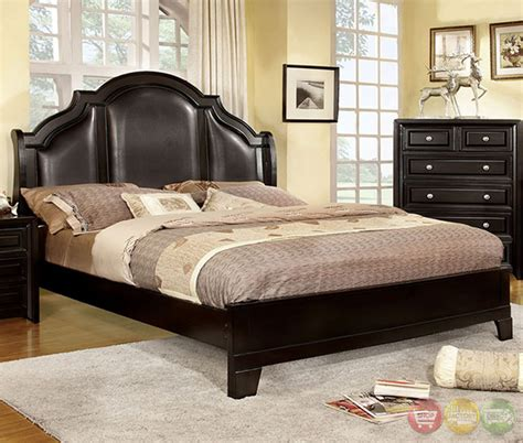 Bedroom Furniture Bristol Bristol Transitional Espresso Bedroom Set With Crown Leatherette Headboard Cm7686