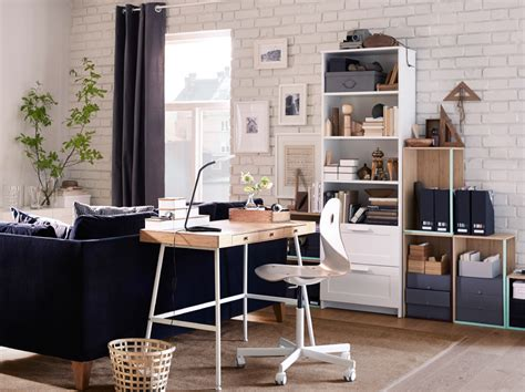 A Neat And Space Saving Desk In Natural Bamboo Ikea Office Desk In Living Room