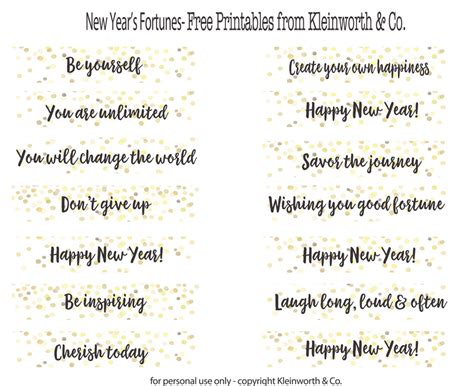 Fortune Cookie Messages Printable