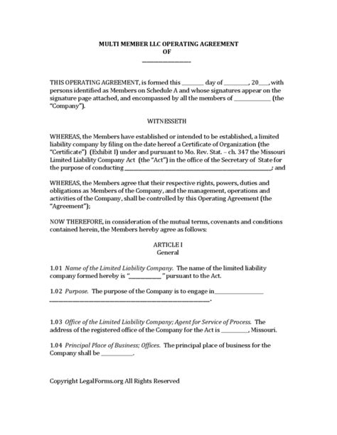 Llc Operating Agreement Forms Wikidownload Missouri Articles Incparadisenet 30 Unique Images Missouri Llc Operating Agreement Template