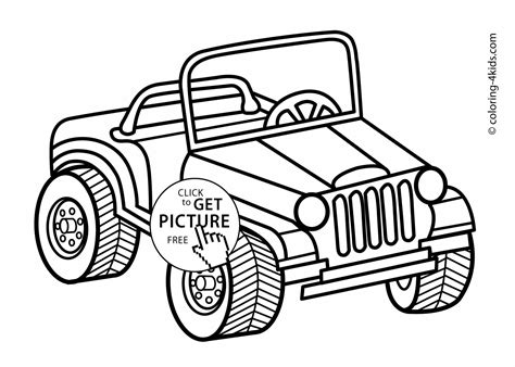 coloring page of a jeep jeep transportation coloring pages for kids printable