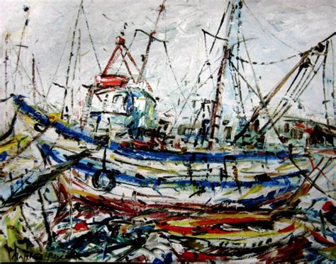 fishing boat auction melbourne paintings matthew perceval australian art auction records