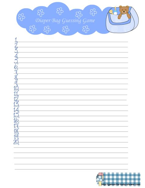 Free Printable Diaper Bag Guessing Game For Baby Shower Guessing Template