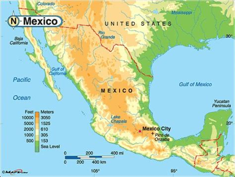 physical maps of mexico mexico the world through my