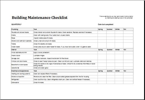 7 Facility Maintenance Checklist Templates Excel Templates Free Property Management Maintenance Checklist Template