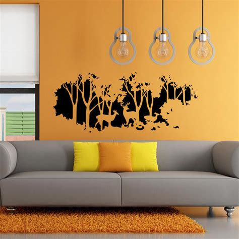 Forest Wall Stickers 58cmx126cm forest fawn deer wall sticker wall decal home