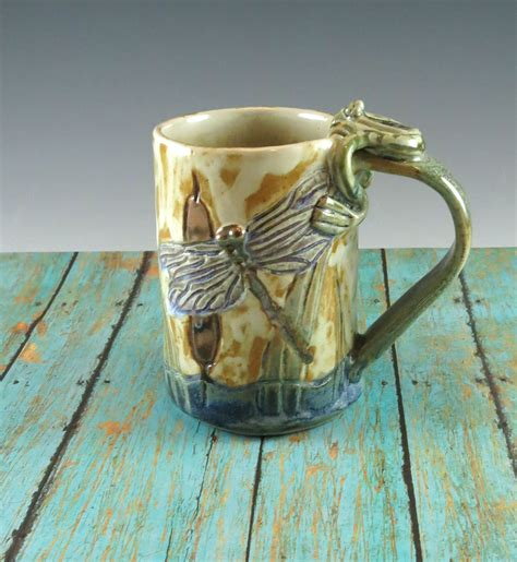 Handcrafted Ceramic Mugs - cattails pottery mug handmade ceramic coffee cup by