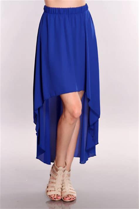 royal blue high low hem skirt clubwear