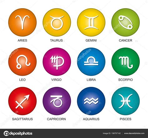 zodiac signs colors astrological signs of the zodiac rainbow colors stock