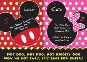 mickey and minnie mouse birthday invitations bagvania