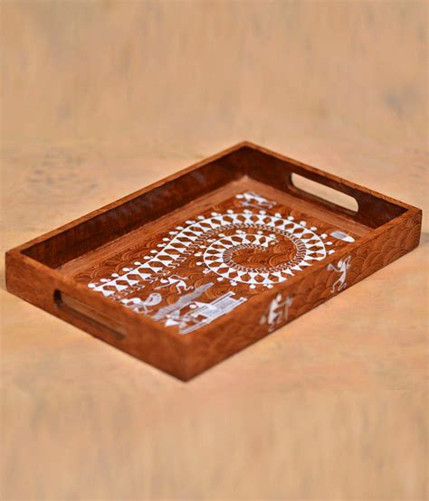 Handmade Trays - buy exclusivelane wooden tray handmade with warli