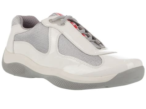 prada white grey leather trainers in white for lyst