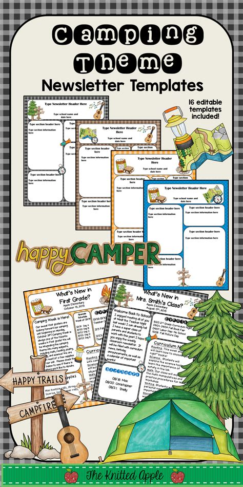 editable newsletter templates camping theme