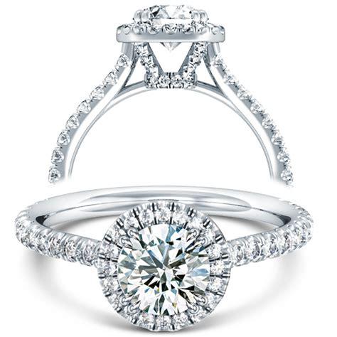 v split prong halo engagement ring