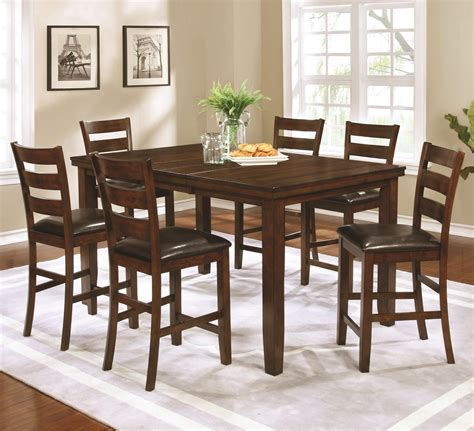 Counter Height Dining Tables And Chairs Coaster 107038 039 Golden Brown Counter Height Dining Table And Chairs 7 Pc Set