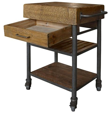 rustic kitchen islands and carts kershaw rustic chunky reclaimed wood iron single drawer