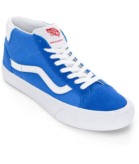 vans mid skool pro 50th blue white shoes zumiez