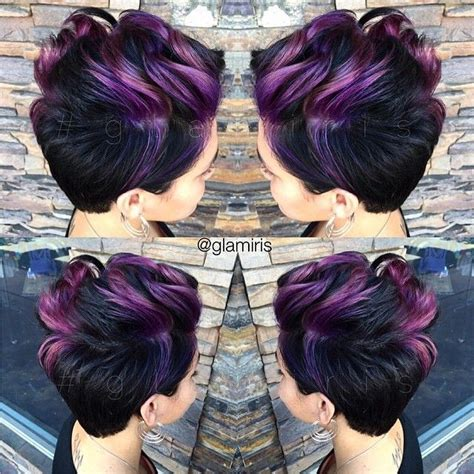 zadivljujuce frizure za kratku kosu  ljubicastim nijansama friz