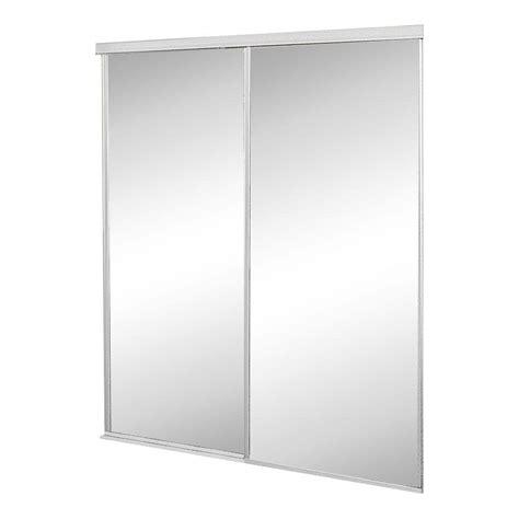 Interior Mirrored Doors Contractors Wardrobe 60 In X 96 In Concord Mirrored White Aluminum Interior Sliding Door Con
