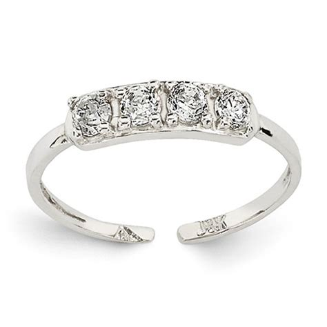 14kt white gold four cubic zirconia toe ring k1532