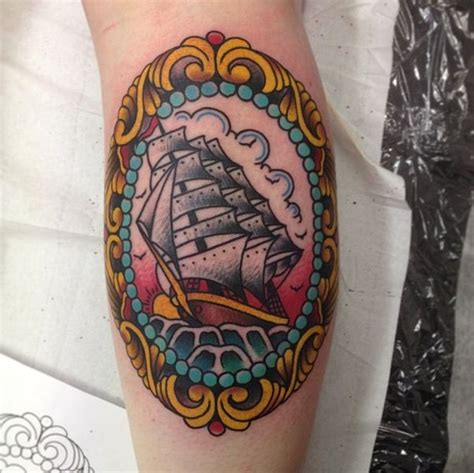 clipper ship tattoo clipper ship in frame like the frame and the