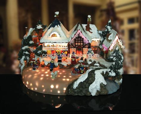 christmas snow village bakery fiber optic led light house