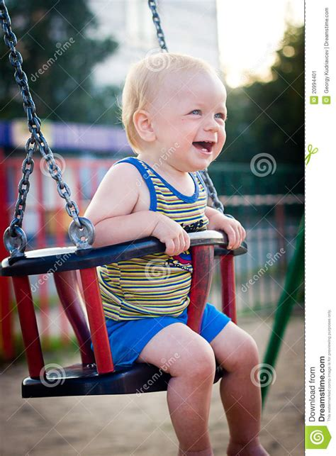 Babies On Swings Baby On A Swing Stock Image Image 20994401