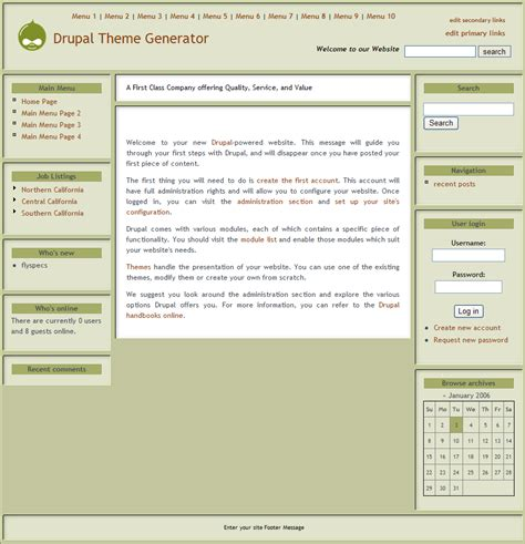 theme generator com drupal theme generator version 2 features and