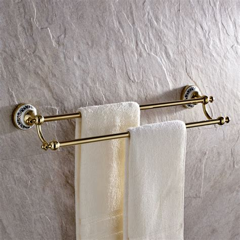 brass towel racks for bathrooms 24 quot vintage polished brass finish bathroom dual towel bar