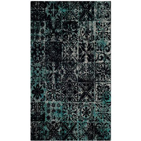 black teal rug safavieh classic vintage teal black 3 ft x 5 ft area rug clv221a 3 the home depot