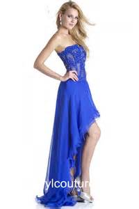 flowing strapless royal blue chiffon lace beaded high low