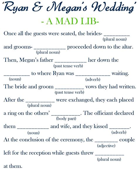 mad lib template simply couture wedding fan programs