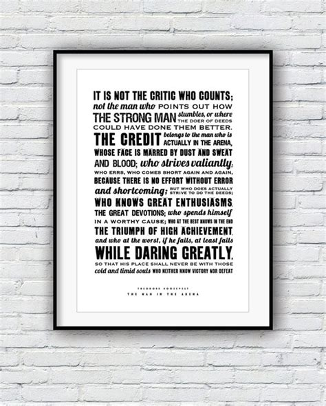 printable theodore roosevelt quotes theodore roosevelt the man in the arena quote poster