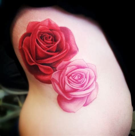 pink rose tattoos roses on ribs by annyanarchystriker on deviantart