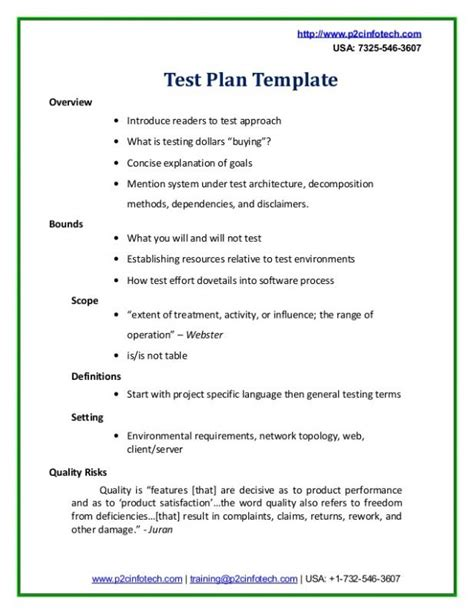test strategy template test plan exle template business