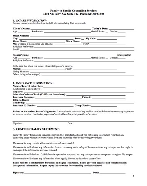 Career Counseling Intake Form Hoss Roshana Co Counseling Intake Template